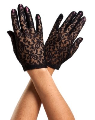 Vintage Style Gloves- Long, Wrist, Evening, Day, Leather, Lace Black Lace Gloves by Spirit Halloween $6.99 AT vintagedancer.com