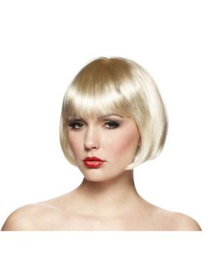 1920s Hairstyles History- Long Hair to Bobbed Hair Short Blonde Bob Wig by Spirit Halloween $14.99 AT vintagedancer.com