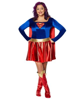 1940s Costumes- WW2, Nurse, Pinup, Rosie the Riveter Adult Supergirl Plus Size Costume - DC Comics by Spirit Halloween $54.99 AT vintagedancer.com