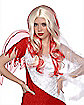 Red and White Streak Shag Wig
