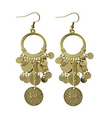 Goldtone Coin Greek Goddess Earrings
