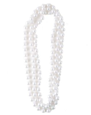1920s Gatsby Jewelry- Flapper Earrings, Necklaces, Bracelets 60 in Faux White Pearl Necklace by Spirit Halloween $4.99 AT vintagedancer.com