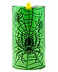 6 Inch Spiderweb Green Flameless Pillar Candle