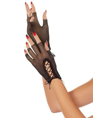 Vintage Style Gloves- Long, Wrist, Evening, Day, Leather, Lace Lace Up Fishnet Gloves by Spirit Halloween $8.99 AT vintagedancer.com