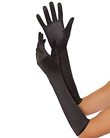 Black Satin Gloves