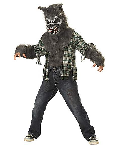 Kids Howling at the Moon Gray Wolf Costume - Spirithalloween.com