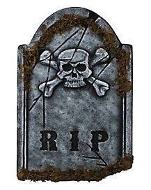 1.5 Ft Skull Face Tombstone with Moss - Decorations