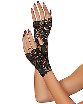 Short Black Lace Gloves