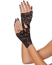 Short Black Lace Gloves