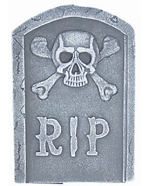 15 Inch Skull and Bones Tombstone - Decorations
