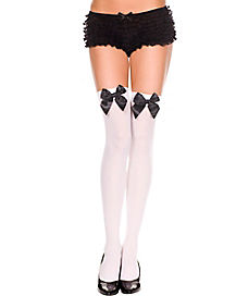 Opaque Thigh High Stockings White with Black Bows
