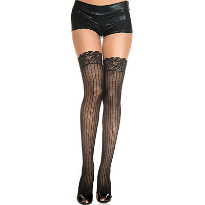 1920s Style Stockings, Tights, Fishnets & Socks Vertical Striped Fishnet Thigh High Stockings $9.99 AT vintagedancer.com