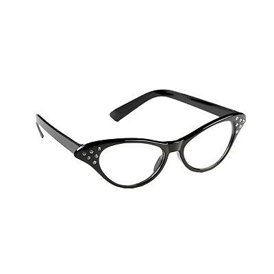 1950s Costumes 50s Black Rhinestone Glasses $7.99 AT vintagedancer.com