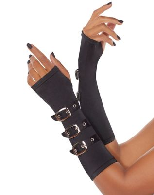 Vintage Style Gloves- Long, Wrist, Evening, Day, Leather, Lace Black Buckled Arm Warmers by Spirit Halloween $12.99 AT vintagedancer.com