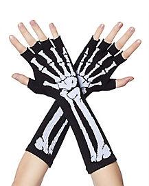 Long Printed Skeleton Fingerless Gloves