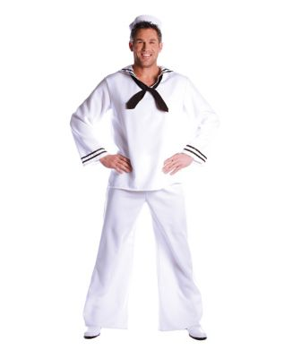 Vintage Sailor Clothes, Nautical Theme Clothing Mens White Sailor Costume by Spirit Halloween $34.99 AT vintagedancer.com