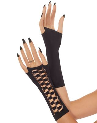Vintage Style Gloves- Long, Wrist, Evening, Day, Leather, Lace Black Gauntlet Arm Warmers by Spirit Halloween $7.99 AT vintagedancer.com