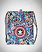 Marvel Avengers Character Print Cinch Bag