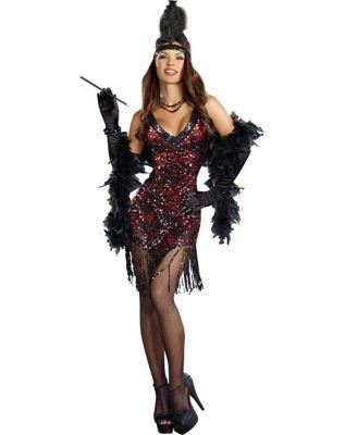 Roaring 20s Costumes- Flapper Costumes, Gangster Costumes Adult Dames Like Us Flapper Costume by Spirit Halloween $49.99 AT vintagedancer.com
