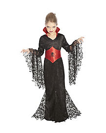 Kids Black Lace Vampira Costume