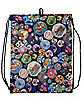 Adventure Time Button Print Cinch Bag