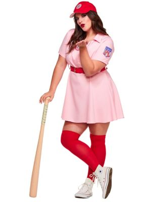 1940s Costumes- WW2, Nurse, Pinup, Rosie the Riveter Adult Rockford Peaches Plus Size Costume -  A League of Their Own by Spirit Halloween $54.99 AT vintagedancer.com