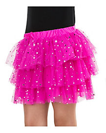 Pink Sequin Ruffle Skirt