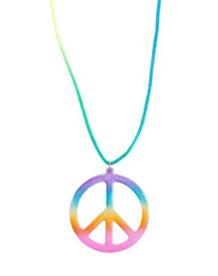 60s -70s Jewelry – Necklaces, Earrings, Rings, Bracelets Tie Dye Peace Necklace by Spirit Halloween $3.99 AT vintagedancer.com