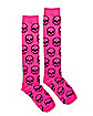 Pink Skulls Knee High Socks