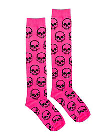 Pink Skulls Knee High Socks