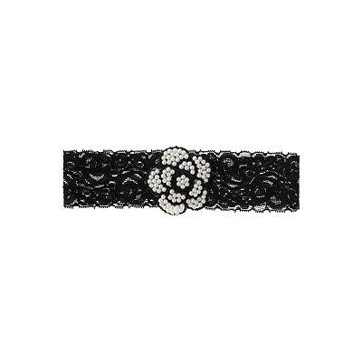 1920s Flapper Headbands 20s Black Lace Flower Garter $7.99 AT vintagedancer.com