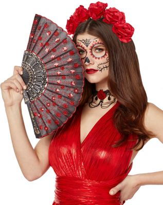 Victorian Hand Fan, Gloves, Belt Accessories Black Lace Fan by Spirit Halloween $5.99 AT vintagedancer.com