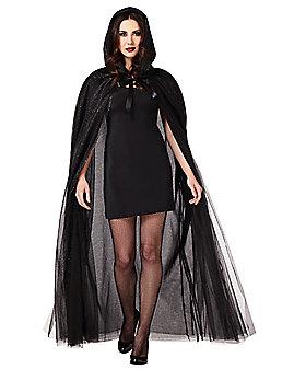 Adult Black Ghost Cape Costume