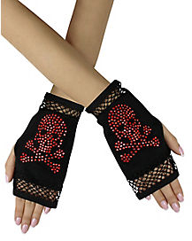 Glam Skull and Crossbones Gloves
