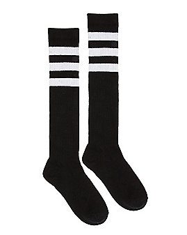 Black with White Striped Knee High Socks