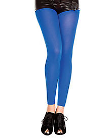 Blue Opaque Footless Tights