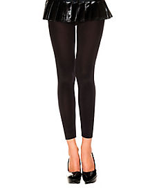 Opaque Footless Tights - Black