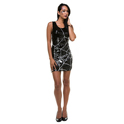 Vintage Retro Halloween Themed Clothing Sequin Spiderweb Witch Dress $32.99 AT vintagedancer.com