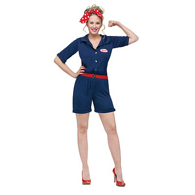 Vintage Rompers and Retro Playsuits Adult Rosie the Riveter Costume $39.99 AT vintagedancer.com