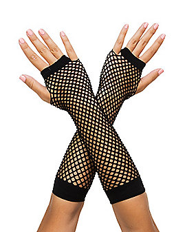 Black Fishnet Fingerless Arm Warmers
