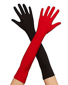Red and Black Long Gloves