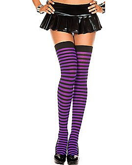 Thigh High Stockings - Black and Purple Striped