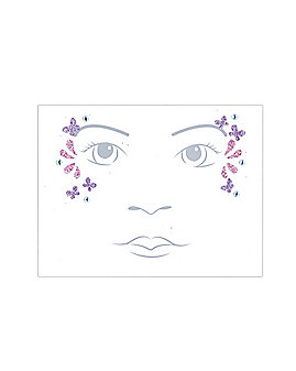 Pink and Purple Butterfly Kids Face Tattoo Decal
