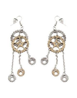 Steampunk Jewelry – Necklace, Earrings, Cuffs, Hair Clips Steampunk Gear Dangle Earrings by Spirit Halloween $6.99 AT vintagedancer.com