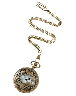 Steampunk Jewelry – Necklace, Earrings, Cuffs, Hair Clips Steampunk Pocket Watch by Spirit Halloween $9.99 AT vintagedancer.com