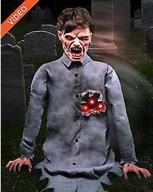 25 ft shotgun zombie with gun animatronics decorations - Zombie Halloween Decorations
