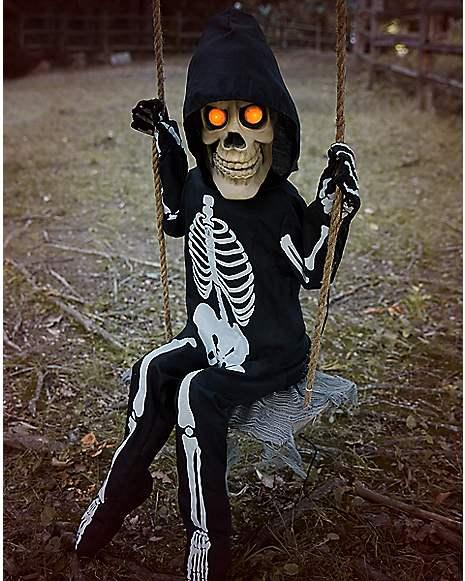 3 Ft Swinging Lil Skelly Bones Animatronics Decorations