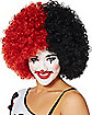 Red and Black Two Tone Clown Afro Wig