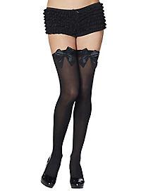 Black Satin Bow Thigh High Stockings