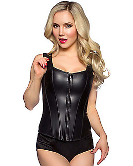 Front Zip Black Pleather Corset